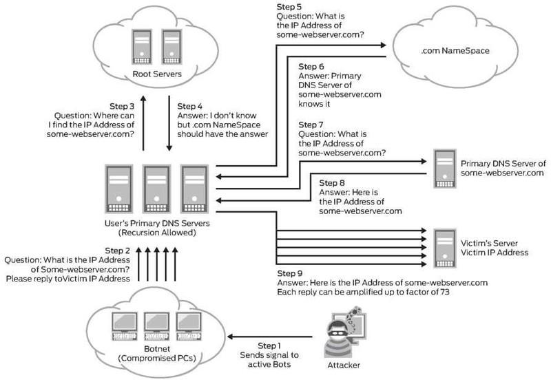 На рисунке схема атаки DNS-